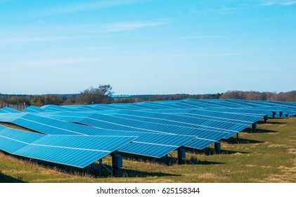 GRAMBOW, GERMANY: MARCH 22, 2017: Group of photovoltaic solar panels for renewable electric energy production.