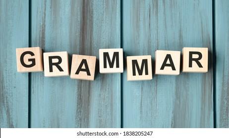 Grammar Word Written on Wooden Cube, concept