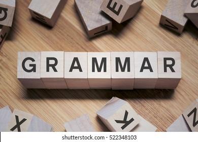 Grammar Word Written In Wooden Cube