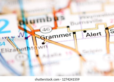 Grammer. Indiana. USA on a geography map