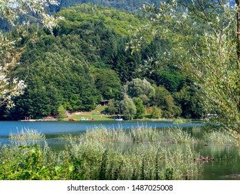 GRAMOLAZZO LAKE, GARFAGNANA, ITALY - AUGUST 9, 2019: A beautiful area for holidaymakers in a less well known area of Italy.