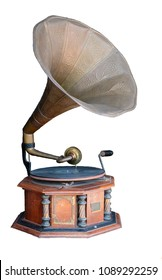 Gramophone, A phonograph, the first device for recording and replaying sound. On white background.