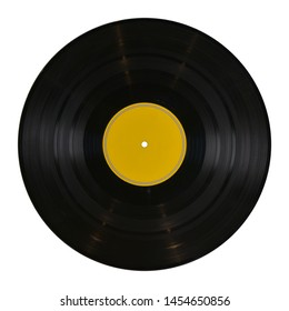 gramophone record Long played record  vinyl Carbide vintage analog music recording 12 inch 33 rpm yellow label  isolated over white background. This has clipping path.