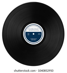 Gramophone vinyl LP record with blue white label. Black musical long play album disc 33 rpm. Old technology, isolated on white background. Top view.