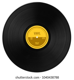 Gramophone vinyl LP record with yellow label. Black musical long play album disc 33 rpm. Old technology, isolated on white background. Top view.