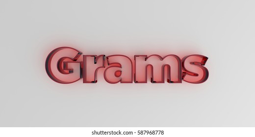 Grams - Red glass text on white background - 3D rendered royalty free stock image.