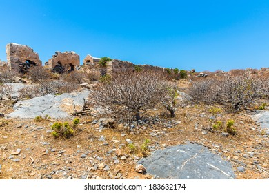 Gramvousa island in Crete, Greece with remains of Venetian fort and magical turquoise waters, lagoons, beaches.