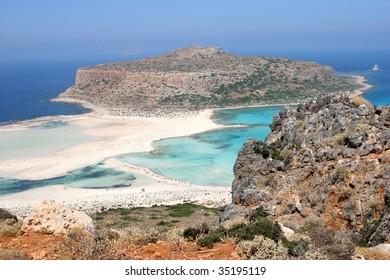 Gramvousa island and white sandy causeway, Crete
