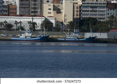Gran Canaria. 5-February 2017. Boats docked at the Shipyard of Puerto de la Luz and Las Palmas in Gran Canaria.