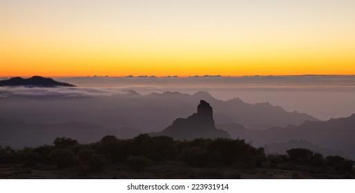 Gran Canaria, Caldera de Tejeda, evening light after sunset
