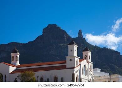 Gran Canaria, Caldera de Tejeda in winter, Church in Tejeda village andiconic Roque Nublo