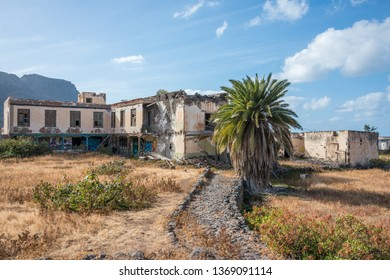 Gran Canaria, Canary islands - march 17, 2019: Old abandoned rural house in El Pagador ravine, on the north coast of the island