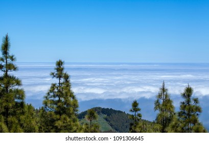 Gran Canaria, cloud layer Panza de Burro - Belly of a Donkey, meteorological phenomenon of cloud cover generated by trade wind, covering the northern parts of Canary Islands