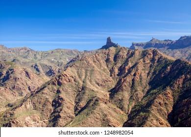 Gran Canaria, December, view over Caldera de Tejeda from Acusa