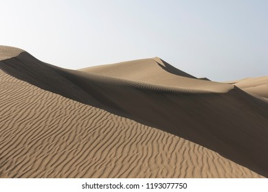 Gran Canaria dunes - Maspalomas brown sand desert landscape.
