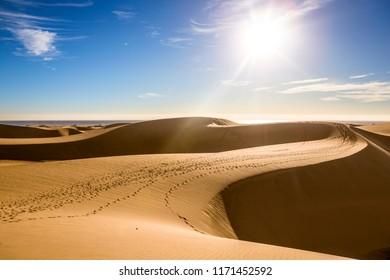 Gran Canaria dunes, Maspalomas sand desert landscape. Spain
