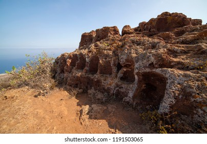 Gran Canaria, El Tagoror del Gallego, archeological site at the north of the island, consisting of several seats  dug in the side of the mountain. Possibly a court or a council site.