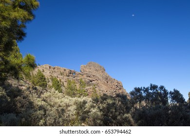 Gran Canaria, the highest areas of the island, Las Cumbres, view towards Agujereada, Volcanic Rock formaton  with a hole in it, immediately to the suth from Pico de Las Nieves
