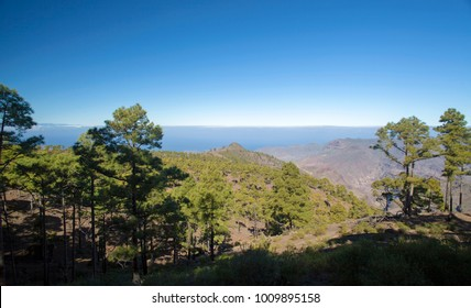 Gran Canaria, January 2018, view from a hiking path on the border of Integral Nature Reserve Inagua towards loca summit Viso