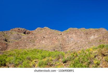 Gran Canaria, June, steep walls of  ravine Barranco de Guayadeque