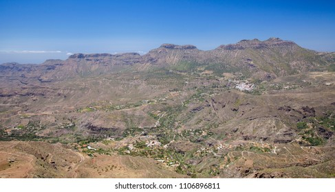 Gran Canaria, June, view across Caldera de Tirajana towards mountain range Amurga