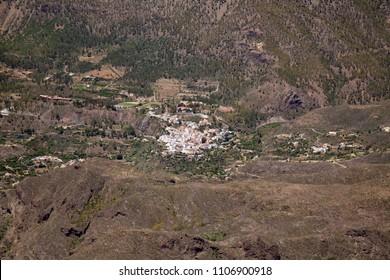 Gran Canaria, June, view across Caldera de Tirajana towards small town San Bartolome de Tirajana