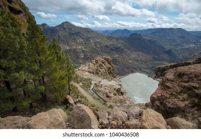 Gran Canaria, Las Cumbres, the highest areas of the island are full of temporary streams after rains, view towards  Cruz Grande from a hiking path