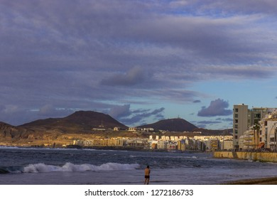 Gran Canaria, Las Palmas- November 2018: View on the beach of capital of Gran Canaria after sunset