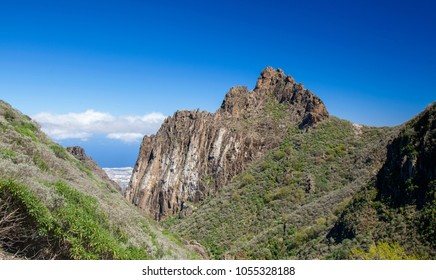Gran Canaria, March 2018, view from a hiking path in Valsequillo municipality towards rock formation Roques de Tenteniguada
