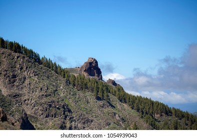 Gran Canaria, March, view from a hiking path in Valsequillo municipality towards rock formation Roque de Saucillo