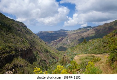 Gran Canaria, May 2018, view down steep valley of Agaete
