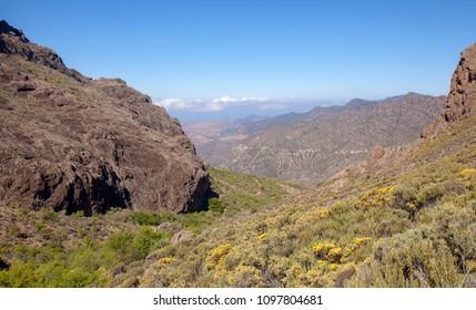 Gran Canaria, May, hiking route Candelilla - El Marrubio, look down along  the valley Barranco de la Soria