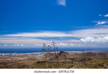 Gran Canaria, May, hiking route Temisas - Aguimes,view towards ocean