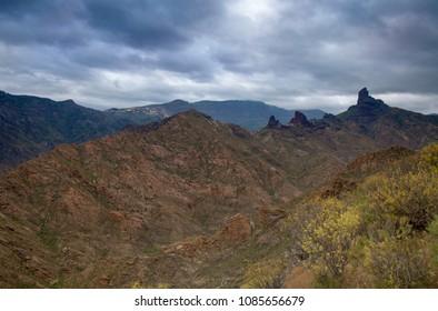 Gran Canaria, May, montains of the central part of the island, view across valley Barranco de Tejeda towards Roque Bentayga