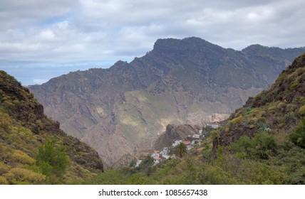 Gran Canaria, May, montains of the central part of the island, valley Barranco de Carrizal, small village Carrizal de Tejeda