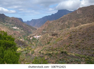 Gran Canaria, May, montains of the central part of the island , view down valley Barranco de Tejeda, top of Altavista mountain  in clouds
