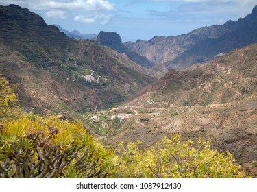 Gran Canaria, May, montains of the central part of the island, view down valley Barranco de Tejeda