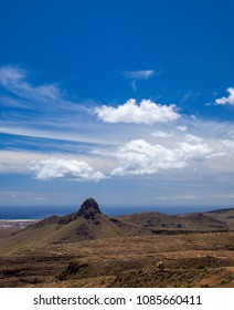 Gran Canaria, May, view towards ocean from hiking path Temisas - Aguimes, volcanic structure  Roque Aguayro dominates the landscape