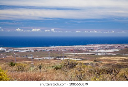 Gran Canaria, May, view towards ocean from hiking path Temisas - Aguimes, many wind electric generators visible