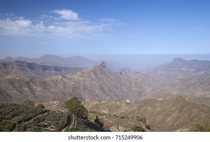 Gran Canaria, September, calima,  dusty air brought by prevailing winds from Africa, blankets the island, view over Caldera de Tejeda