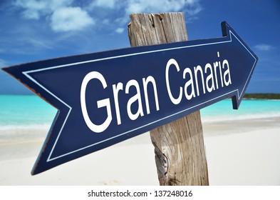 Gran Canaria sign on the beach