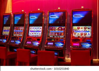 Gran Canaria, Spain - 12/22/2017. Casino slot machines