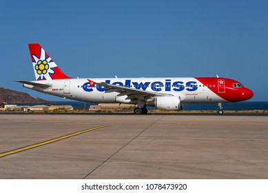 GRAN CANARIA / SPAIN - APRIL 2018 Edelweiss Air Airbus A320-214, HB-IHY, cn 947 named Blüemlisalp taxiing to the departure runway.