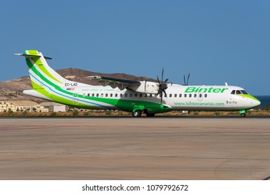 GRAN CANARIA / SPAIN - APRIL 2018 A Binter Canarias ATR 72-500 (72-212A), EC-LAD, cn 864 named Baifo is taxiing for departure for a short hop to another canary island.