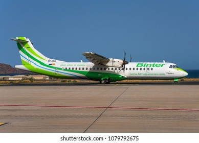 GRAN CANARIA / SPAIN - APRIL 2018 A Binter Canarias ATR 72-500 (72-212A), EC-KGJ, cn 753 named Madeira is taxiing for departure for a short hop to another canary island.