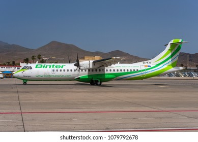 GRAN CANARIA / SPAIN - APRIL 2018 A Binter Canarias ATR 72-500 (72-212A), EC-KYI, cn 850 named Guarapo is taxiing for departure for a short hop to another canary island.