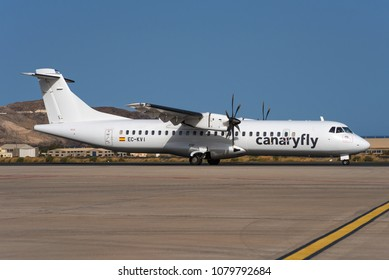 GRAN CANARIA / SPAIN - APRIL 2018 Swiftair ATR 72-500 (72-212A), EC-KVI, cn 824 operating for Canary Fly is taxiing for departure for a short hop to another canary island.