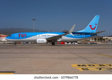 GRAN CANARIA / SPAIN - APRIL 2018 TUIfly Boeing 737-8K5(WL) D-ATUJ, cn  39923/4001 taxiing for departure.