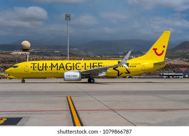 GRAN CANARIA / SPAIN - APRIL 2018 TUIfly Boeing 737-8K5(WL), D-ATUG, cn 34688/1909 taxiing on the apron. Wearing TUI Magic Life titles to promote TUIs vacation club.