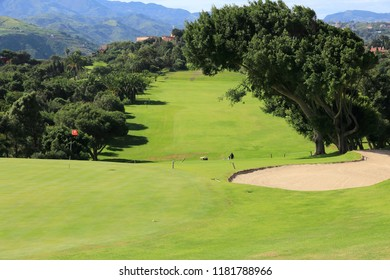 GRAN CANARIA, SPAIN - DECEMBER 6, 2015: People visit Real Club de Golf Las Palmas in Gran Canaria, Spain. Canary Islands are a notable golfing destination with year round golf weather.
